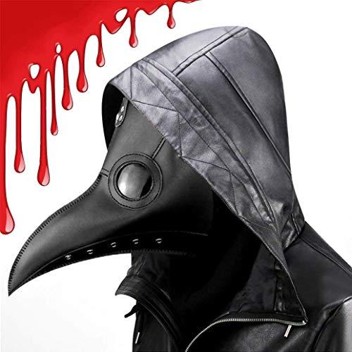 CompraFun Máscara de Doctor Plaga, Pico de pájaro de Nariz Larga Steampunk Disfraces de Halloween Máscaras (Negro)