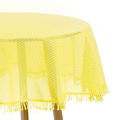 WOLTU Gartentischdecke Weichschaum mit Quaste geschäumt Wetterfest rutschfest Witterungsbeständig Outdoor Tischdecke rund 140 cm Gelb