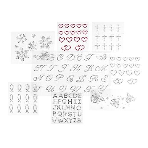 Set di strass scintillanti a forma di lettere dell'alfabeto, per qualsiasi testo, farfalle, croci, pesci, cuori