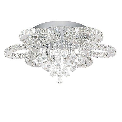 SAILUN® 88W LED Kaltweiß Deckenleuchte 6-flammig Kristall Deckenlampe Flur Wohnzimmer Lampe Schlafzimmer Küche Energie Sparen Licht Wandleuchte (88W Kaltweiß)