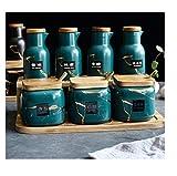 Set di scatole di spezie, barattolo di condimento in ceramica per uso domestico, scuotitore di sale in vaso per olio, forniture per la cucina-Set di sette pezzi verde