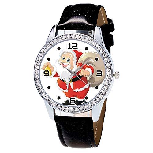 Luckhome Damenuhr Armbanduhr Analog Quarz Mit Weihnachten Diamant Lederband Vogue Armbanduhren GIF Weihnachtsuhr Weihnachtsmann Gürtel Uhr Mode(Schwarz)