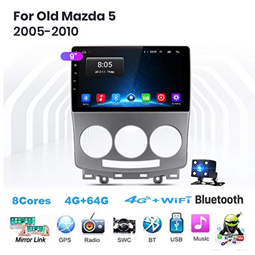 TypeBuilt Android 8.1 Head Unit 2 DIN 9'para Mazda 5 2005-2010 GPS Navegación Cámara De Respaldo Estéreo De Coche Audio FM/Am/RDS Radio Video Player WiFi Bluetooth SWC,8cores,2G+32G