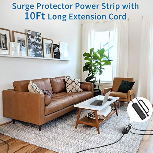 Flat Plug Surge Protector with USB, NTONPOWER 10 Ft Extension Cord with 12 Outlets(2 Widely Space), 1875W/15A Heavy Duty Extension Cord, Wall Mount for Home Office, Dorm Essential and Workbench, 2100J