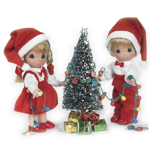 The Doll Maker Precious Moments Dolls, Linda Rick, You Light Up My Life Christmas Set, 7 inch Set of Dolls
