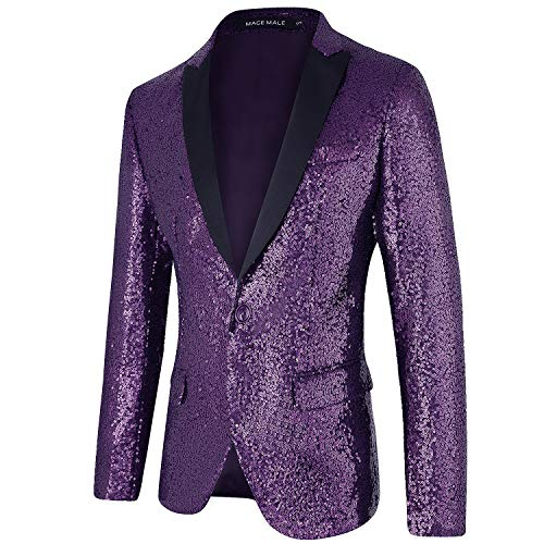 MAGE MALE Mens Tails Slim Fit Tailcoat Sequin Dress Coat Swallowtail Dinner Party Wedding Blazer Suit Jacket Purple
