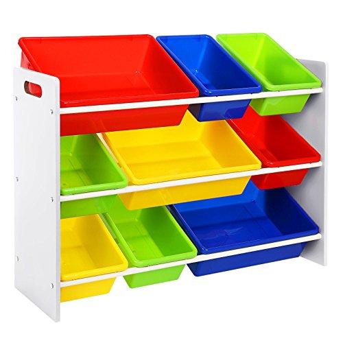 SONGMICS XL Spielzeug Regal, Kinderregal, Kinderzimmerregal mit Kippschutz, 86 cm lang, mit 3 großen und 6 Kleinen Kästen GKR02W