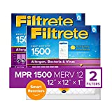 Filtrete 12x12x1, Smart Replenishable AC Furnace Air Filter, MPR 1500, Allergen, Bacteria & Virus, 2-Pack (exact dimensions 11.84 x 11.84 x 1)