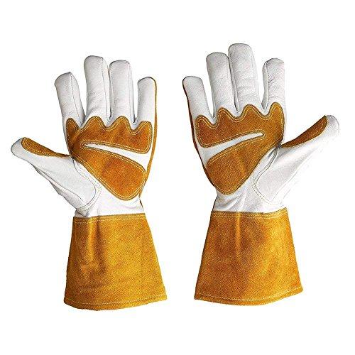 Goatskin Leather Gardening Gloves Bramble Proof Gloves Garden Cactus Gauntlet Puncture Resistant Thornproof Yard Work Gloves For Gardener Orchardist Farmer Men or Women HCT09-C (L 12.4X5.2X0.9 inches)