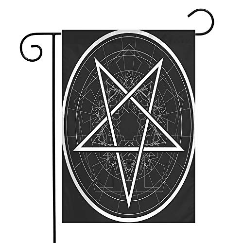 Welcome Garden Flag Dark Star Reversed Sign Pentacle Signs Symbols Magical Astrology Pentagon Abstract Devil Occultism Seasonal Garden Flags for Patio Lawn Outdoor Home Decor Gift 12 X 18 Inch