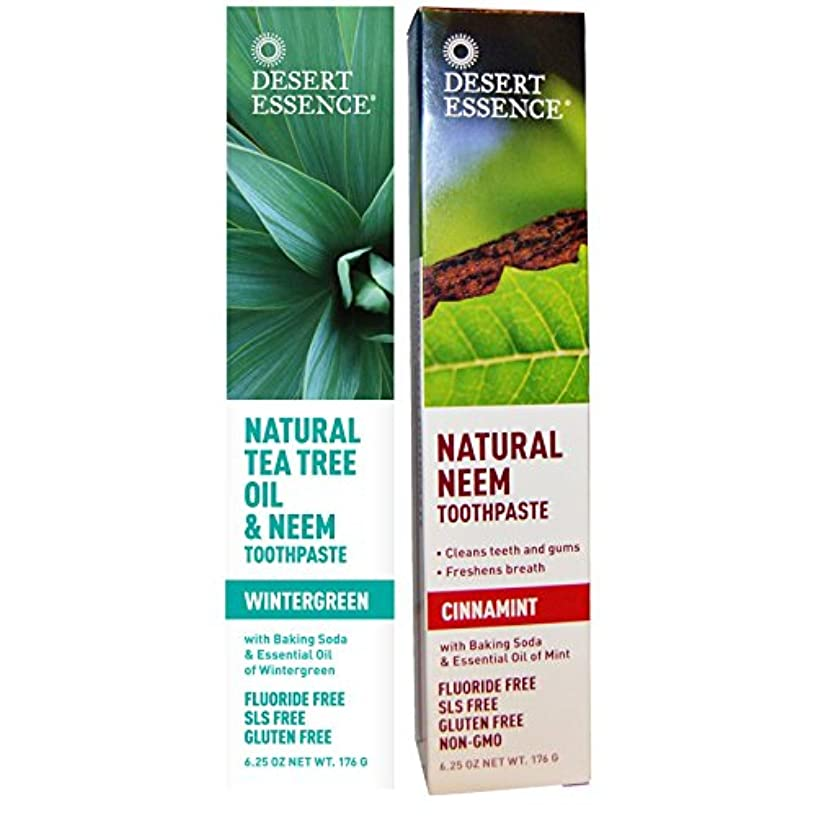 Desert Essence Natural Tea Tree Oil and Neem Toothpaste - 1 Wintergreen and 1 Cinnamint - Tastes Great and is Good for You - NO Gluten, Floride, or Abrasives