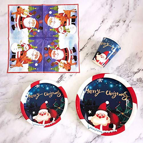 Clothful Christmas Disposable Dinnerware Set Supplies for 8 Guests Used Kitchen,Dining & Bar