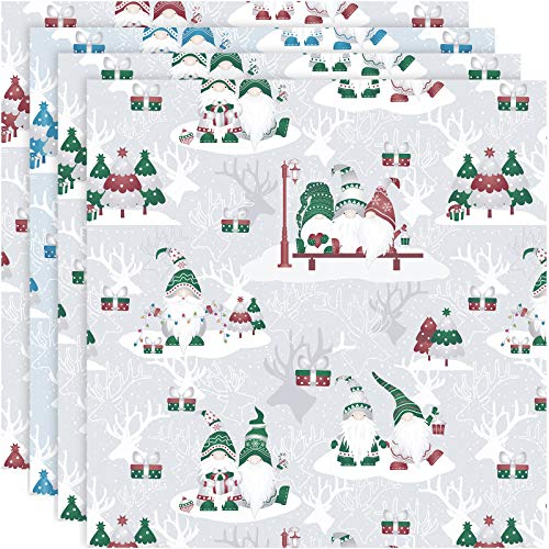 8 Pieces Christmas Cotton Gnome Fabric Fat Quarter Square Sewing Fabric Christmas Tree Quilting Patchwork Precut Santa Claus Fabric Scrap for Christmas DIY Sewing (18 x 18 Inches)