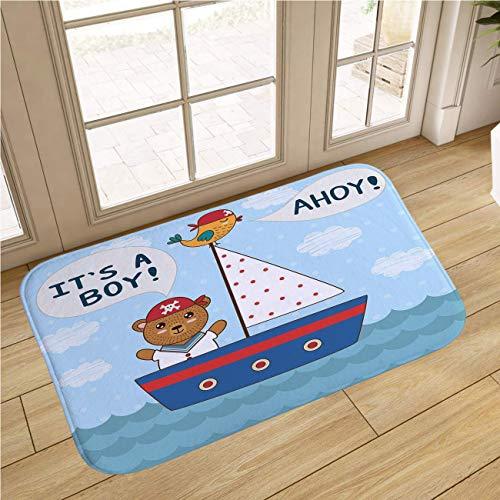 MinGz Cartoon Baby Indoor Doormat, Non Slip Absorbent Super Cozy,Ahoy Its A Boy Cute Baby Nautical Style Bear and Bird in Boat Multicolor,for Tub, Shower, Bath Room, Doorway,16x24 in