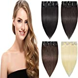 Remy Clip in Hair Extensions Real Human Hair Straight Full Head for Women