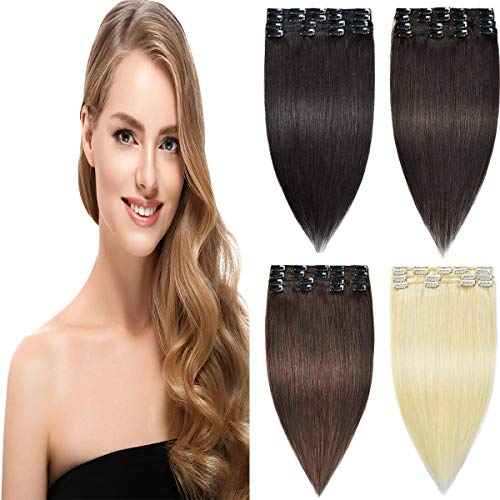 Remy Clip in Hair Extensions Real Human Hair Straight Full Head for Women...