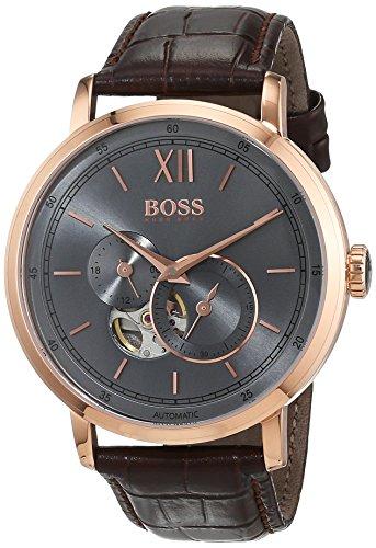 Hugo Boss Herren Datum klassisch Automatik Uhr mit Leder Armband 1513506