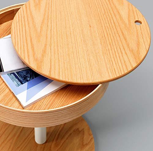 Design Twist Lampang Coffee Table, Wood, Oak/White, 40.5 x 40.5 x H 45 cm