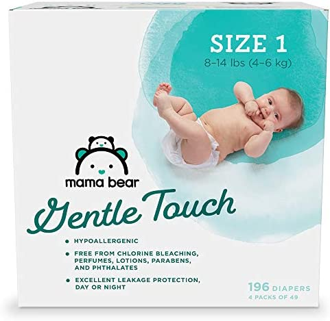 Amazon Brand Mama Bear Gentle Touch Diapers Hypoallergenic Size 1 196 Count 4 packs of 49 product image