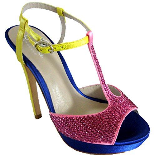 Bourne Mujer Diamante incrustado Satén T-Bar Poppy Zapatos de novia, color Rosa,...