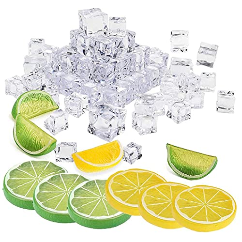 yeesport 50Pcs Artificial Lemon Slices Blocks 20 Pcs Fake ice Cubes,Simulation Lemon Slice+Fake Lemon Block-Double Side Decorative Fake Fruit Model for Party Kitchen Decoration