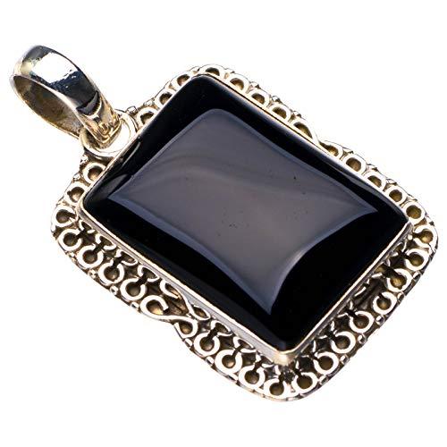 StarGems Colgante de ónix negro natural hecho a mano de plata de ley 925 3,8 cm D6325