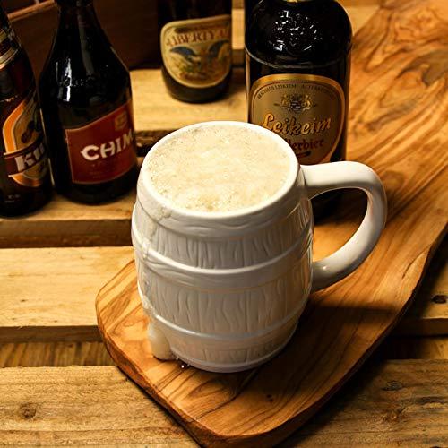 Boccale da birra in ceramica a forma di botte da 0,5 l –Scatola regalo con manici stile tedesco inclusa