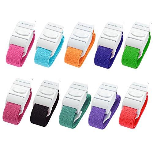 Packung mit 10 Venenstauer Stauschlauch Stauband von Rolseley (10 verschiedene Farbsatz)