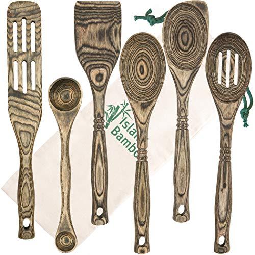 "Island Bamboo Pakkawood 6-Piece Utensil Set with Gift Bag - Elegant Kitchen Spoon, Slotted Spoon, Corner Spoon, Spatula, 13"", 9' Double Measuring Spoon Spurtle - Heat Resistant & Non-Stick Utensils"