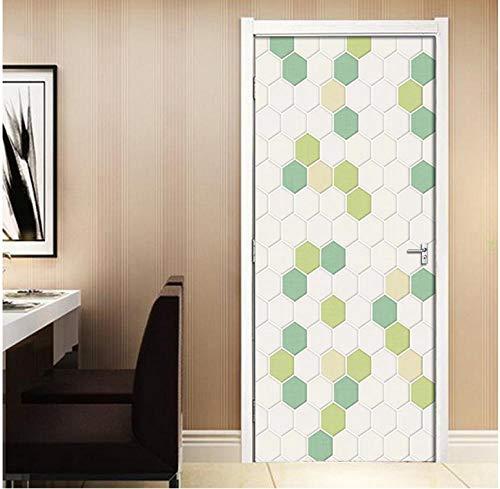 Witte zeshoekige geometrische mozaïek 3D zelfklevend verwijderbaar waterdicht kunst deursticker decoratieve deur muur DIY muursticker 77 * 200cm