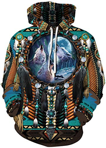 Chaos World Sweat à Capuche Homme Indien Totem 3D Impression Manche Longue Amérindien Respirant (Indien 1, 2XL)