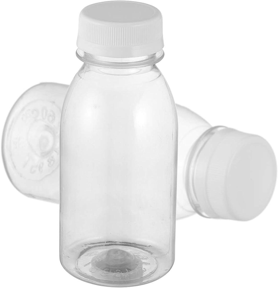 Cabilock 10 botellas de plástico transparente con tapas, reutilizables y vacías, botellas de bebidas para zumo de leche, bebidas de 250 ml