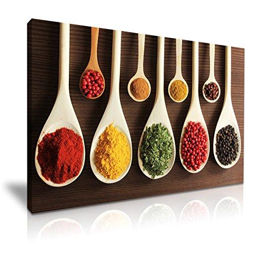 Kruiden Chilli Pepper Indiaas Aziatisch eten Keuken Deco Stretched Canvas Wall Art Picture Print 76x50cm