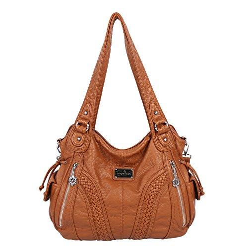 Angelkiss Women Top Handle Satchel Handbags Shoulder Bag Messenger Tote Washed Leather Purses Bag (Caramel)