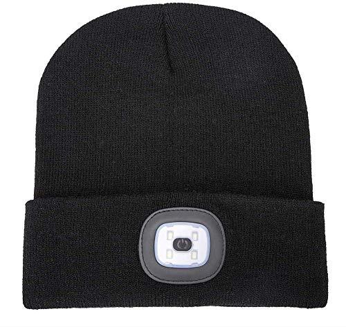 AONAN USB Rechargeable LED Beanie Cap, Lighting and Flashing Alarm Modes Ultra Bright 4 LED Hands Free Flashlight Unisex Winter Warmer Knit Cap Hat (Black)