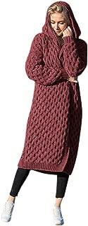 iLOOSKR Winter Warm Cardigan Women Solid Long Knitted Sweater Hooded Cardigan Coat