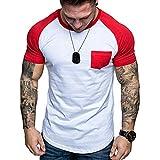 huichang - Camiseta de Verano para Hombre, diseño de Patchwork, Ajustada y cómoda, Niños, Rojo, Medium