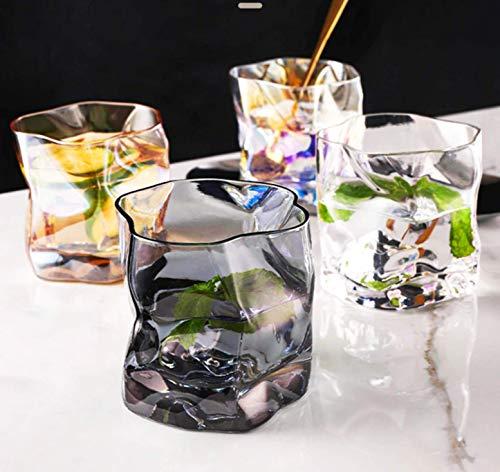 8.3 x 8.3 cm Set de 4 colores de lujo hecho a mano irregular transparente Shot cristal mate taza de cocina té leche jugo café taza cóctel bebida boda cerveza cóctel whisky taza decoración