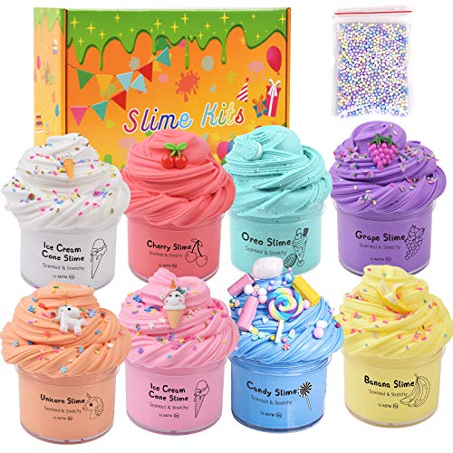 WUHUANIU 8 Pack Slime Kit-Super Soft and Non-Stick, Slime Party Favor for Girls Boys and Kids, Slime Art Craft,12 Cute Slime Charms with Unicorn,Ice Cream,Oreo,Candy and More, Ideal Gift for Kids