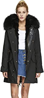 Fur Story Women's Parka Jacket with Raccon Fur Thick Hooded Long Winter Fur Coat