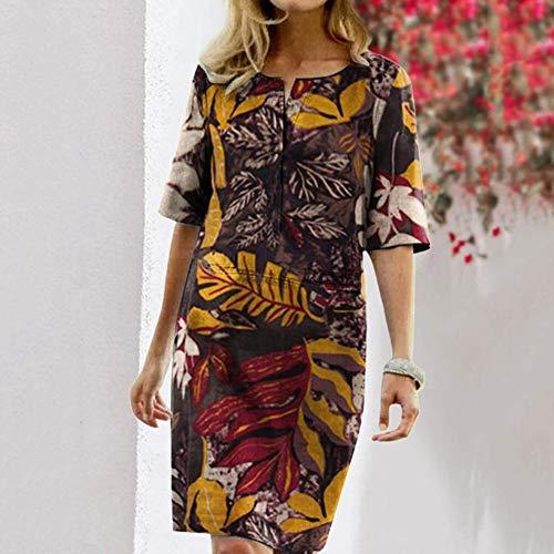 N/F Damen Herbst V-Ausschnitt Halbarm Blumendruck Baumwoll Leinen Blend Knielanges Etuikleid Casual Daily Loose Dress