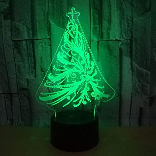 7 Farb Touch 3D Nachtlicht, Mit Fernbedienung Led Optische Illusionslampe, Dimmbaren Funktionen Usb Deko Schreibtisch Tischlampe, Für Halloween Geschenkweihnachtsbaum