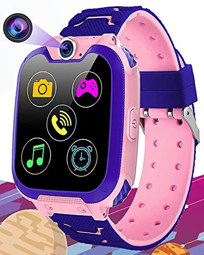 Vannico Montre Intelligente Enfants 16 Jeu Musique MP3 HD Appel Bidirectionnel SOS Smart Phone Fille Garçon Montre Enfants, Téléphone Enfant LCD Écran Tactile Montre 1 Go SD Card