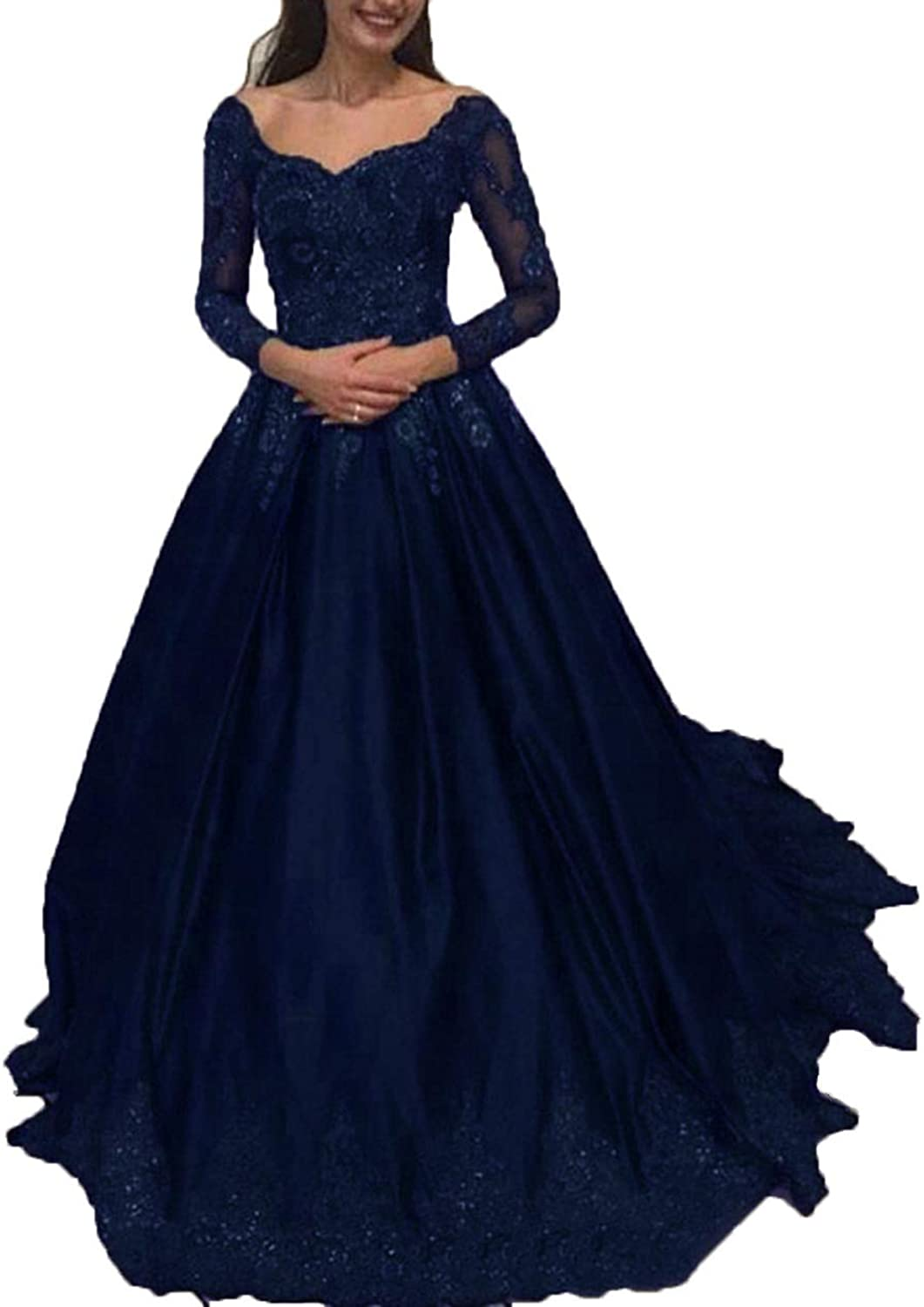 WIYMSHZ Beaded Prom Dresses 2019 Lace Illusion Long Sleeves Satin Ball Gown