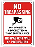 CCTV Camera in Use No Trespassing Video Surveillance Sign, Made Out of .040 Rust-Free Aluminum, Indoor/Outdoor Use, UV Protected and Fade-Resistant, 7' x 10', by My Sign Center