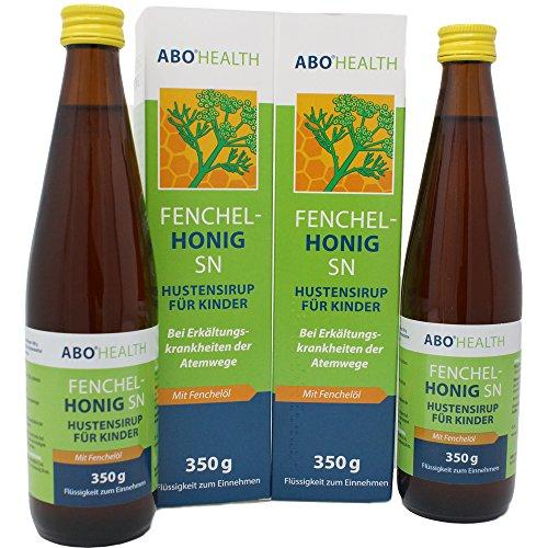ABO HEALTH Fenchelhonig SN Hustensaft | Hustensirup mit Fenchelöl für Kinder und Ewachsene (2 x 350g)