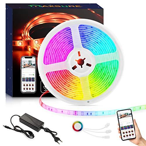 Maxsure LED Strip Alexa 5M, Smart WiFi LED Streifen RGB 5M, APP Steuerbar, Lichtband,Musik LED Band Lichtleiste für Haus, Küche, TV, Party, kompatibel mit Alexa und Google Assistant, Wasserdicht
