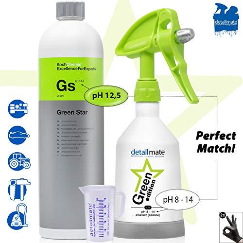 detailmate Green Star Set: Koch Chemie GreenStar Universalreiniger Auto Industrie Werkstatt 1L + KWAZAR Mercury Sprühflasche Green Edition - 0,5l - für ph 8-14 geeignet + Messbecher 50ml