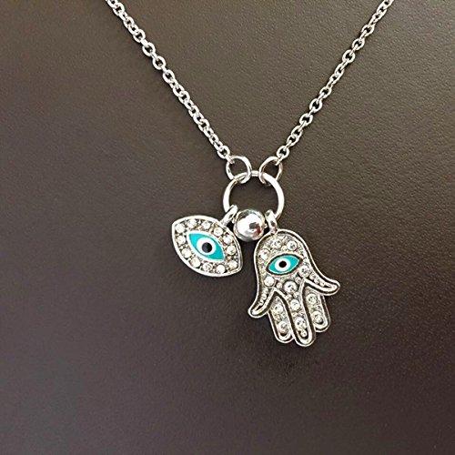 Kangzhiyuan Collar con colgante de mano de Hamsa y cristal árabe vintage con diseño de ojos malvados y mano de Hamsa, marca de suerte de Fátima, cadena de oro (color metálico: plata)