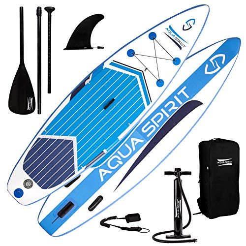 AQUA SPIRIT All Skill Levels Premium Inflatable Stand Up Paddle Board for Adults & Youth | Beginner & Intermediate iSUP Touring & Racing Model | Adjustable Aluminum Paddle, Carry Bag & SUP Safety Leas